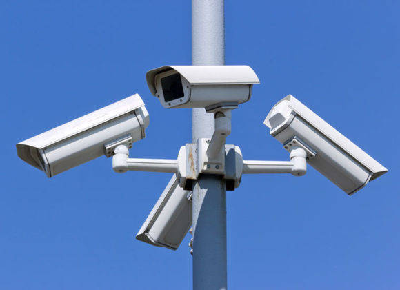 Security camera system on a post in Los Angeles CA